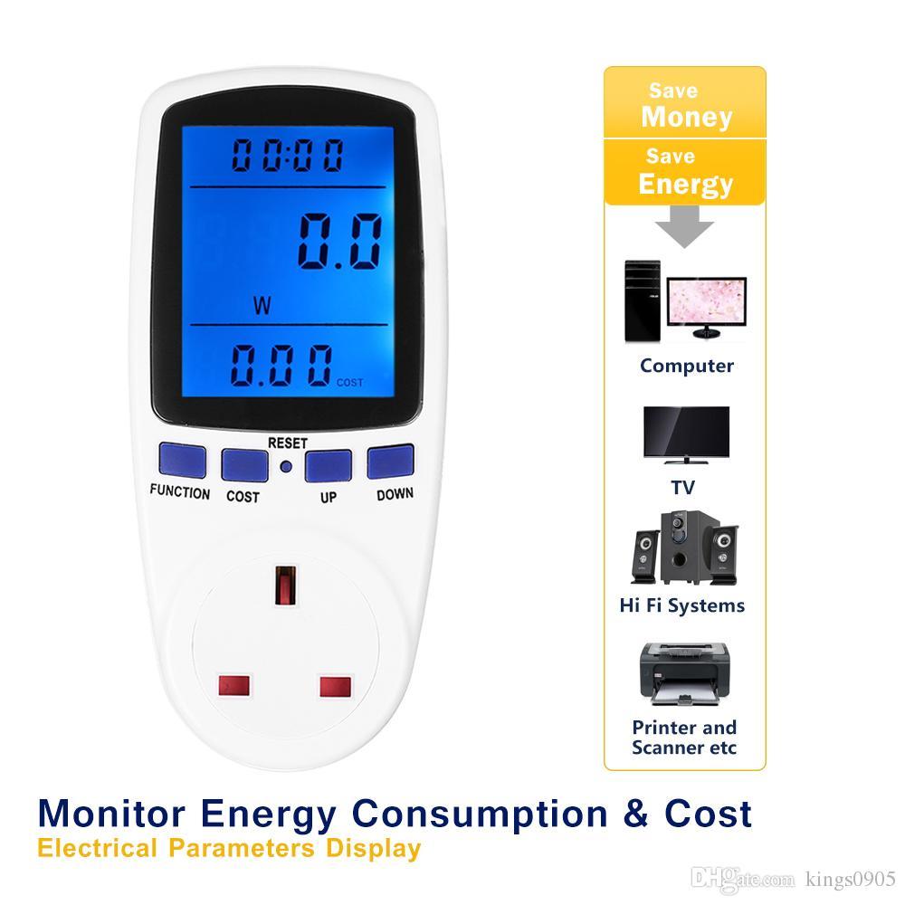 230V Digital Wattmeter LCD Energy Power Meter Wattage Voltage ...