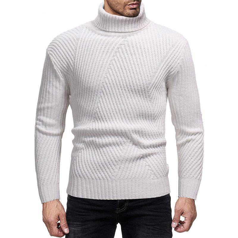 c609d300bc19c9 2019 Winter Men Slim Warm Cotton High Neck Pullover Jumper Sweater Top  Turtleneck Long Sleeve Striped Interlaced Sweater From Guocloth, $26.17 |  DHgate.Com
