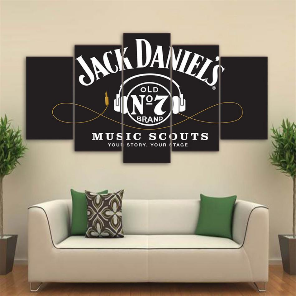 Jack Daniels Whiskey,5 Pieces Home Decor HD Printed Modern Art Painting on Canvas (Unframed/Framed)