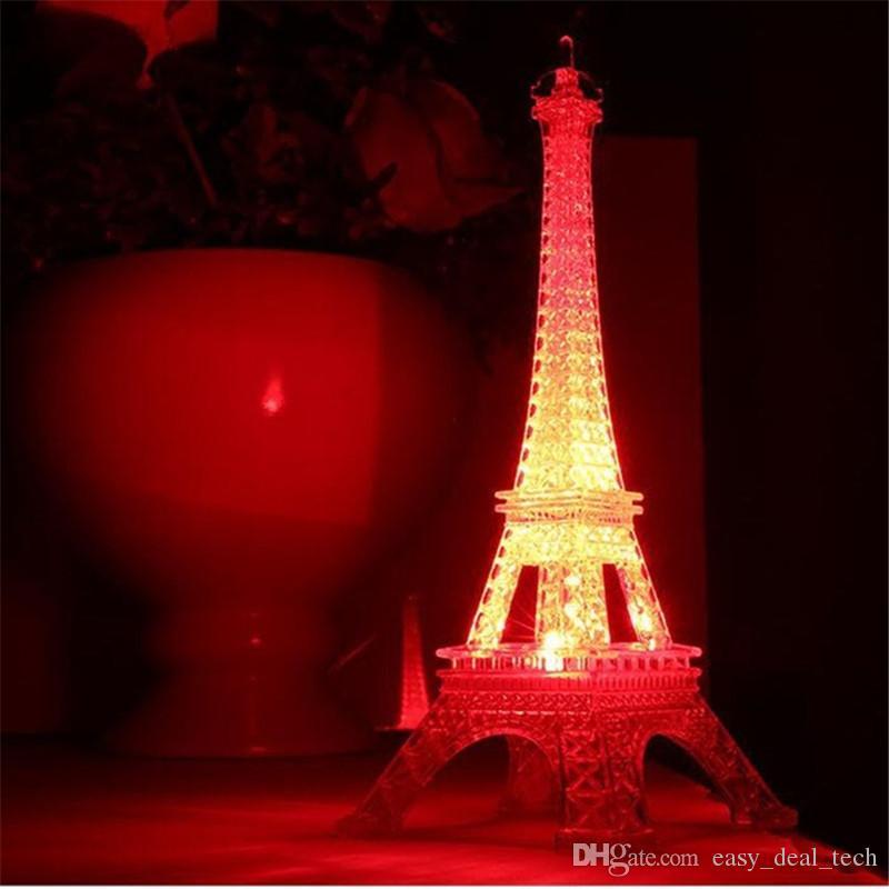 Romantique Saint Valentin grand coloré lumineux Veilleuse Tour Eiffel à Paris led lampe cadeau créatif Q0525