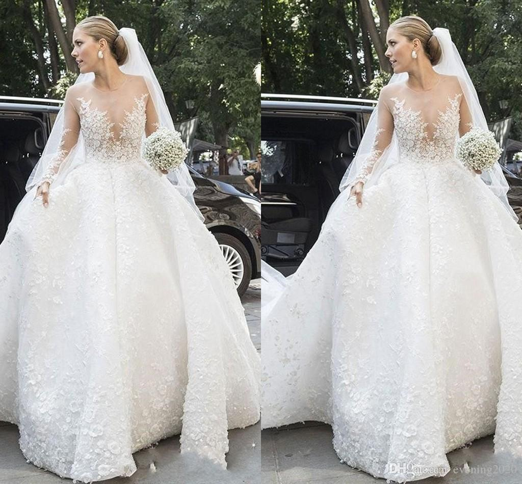 Discount Latest Custom Made Wedding Dresses Jewel Long Sleeve Lace