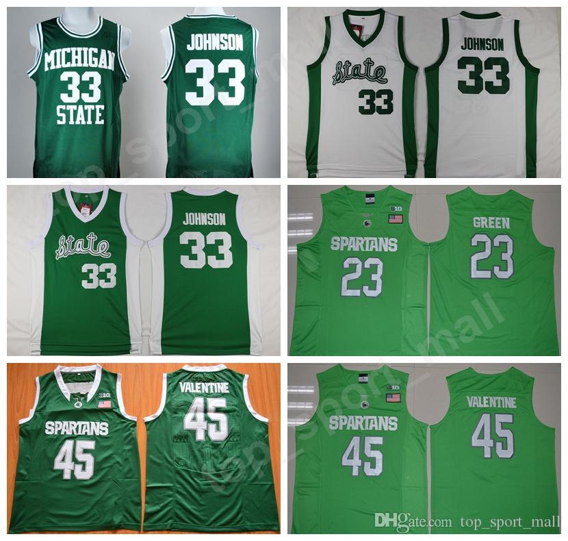 03541d597 2019 Men Michigan State Spartans College Jerseys Green Magic Johnson 33  Denzel Valentine 45 Draymond Green 23 Gary Harris 14 Keith Appling 11 From  ...