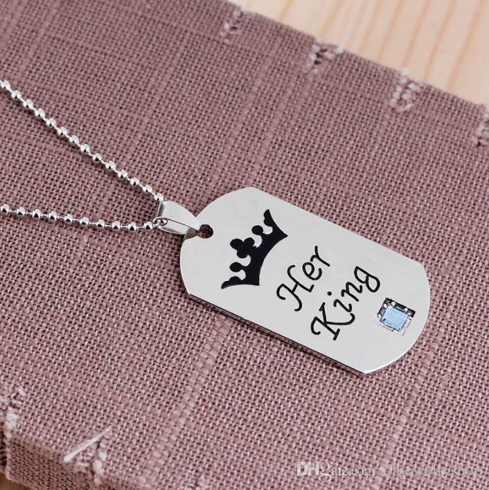"Lovers Couple Pendant ""Her King His Queen"" Engraved Crystal Silver Necklace Xmas Gifts"
