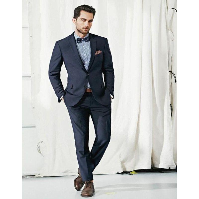 Navy Blue Groom Tuxedos Notched Lapel Wedding Suits For Men Formal Men Suits Slim Fit Men Wedding jacket+pants