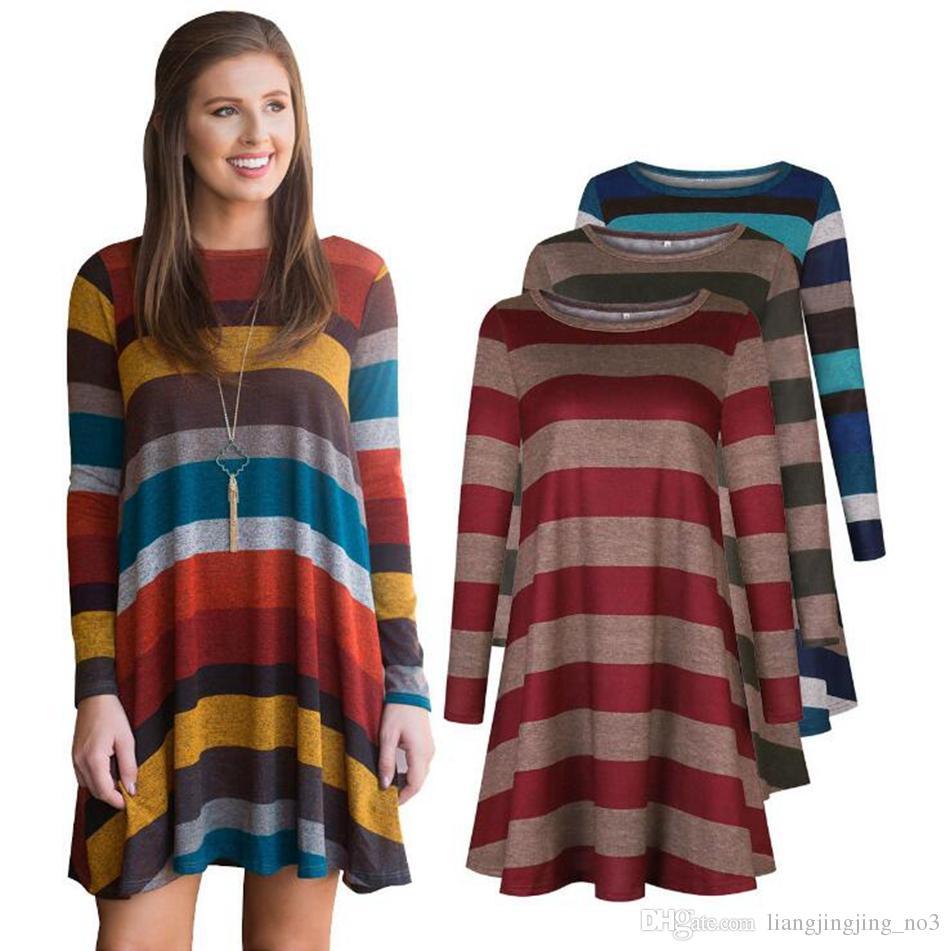 a3f42d96dc 2019 Women Long Sleeve Striped Tunic Mini Dress Tops Fashion Shirt Swing  Loose Blouse Evening Party Dress LJJO4594 From Liangjingjing no3