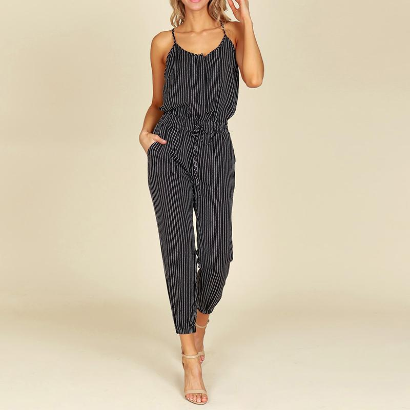 529218918d4 2019 2018 Summer ZNAZEA Rompers Women Striped Jumpsuits Casual Sleeveless  Elastic Waist Strappy Bodysuits V Neck Long Playsuit S 5XL From  Bclothes001