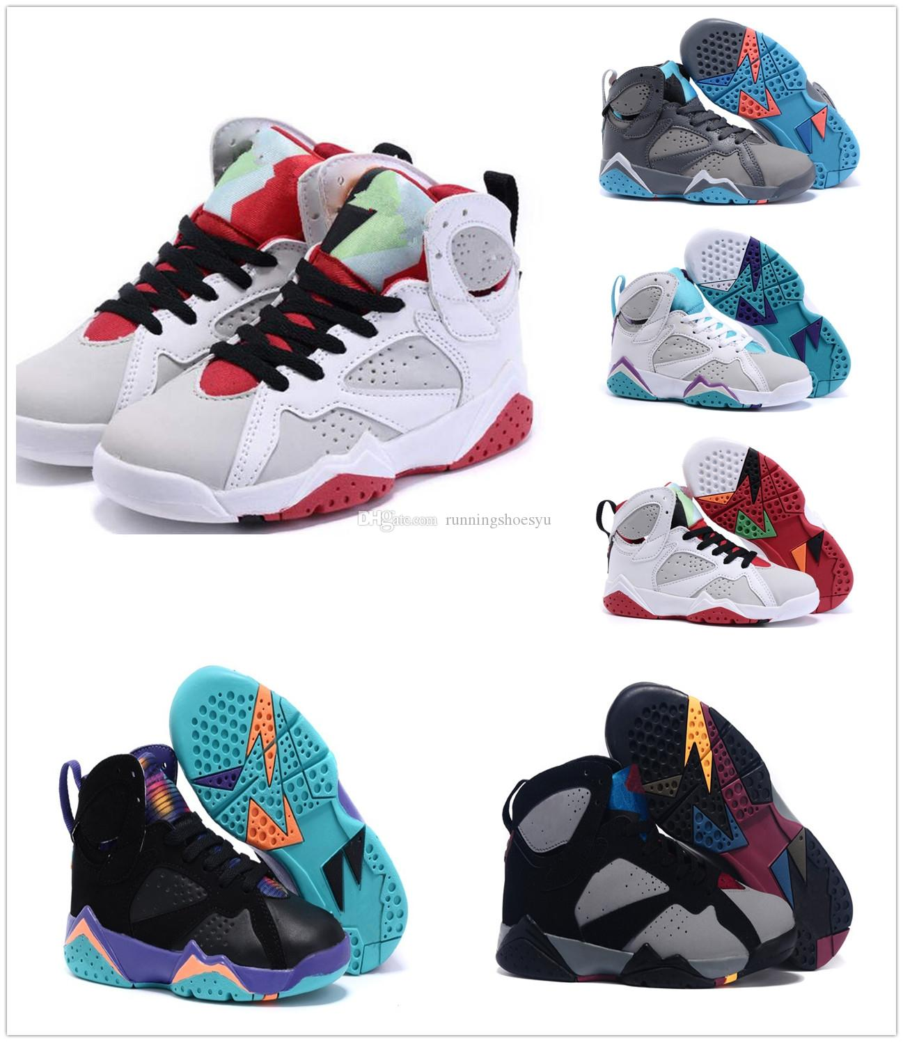 Kids Retro 7 Basetball Shoes For Girls And Boys Breathable Rubber Mesh Kids  Athletic Basketball Shoes Men Basketball Shoes Basket Ball Shoes From ...