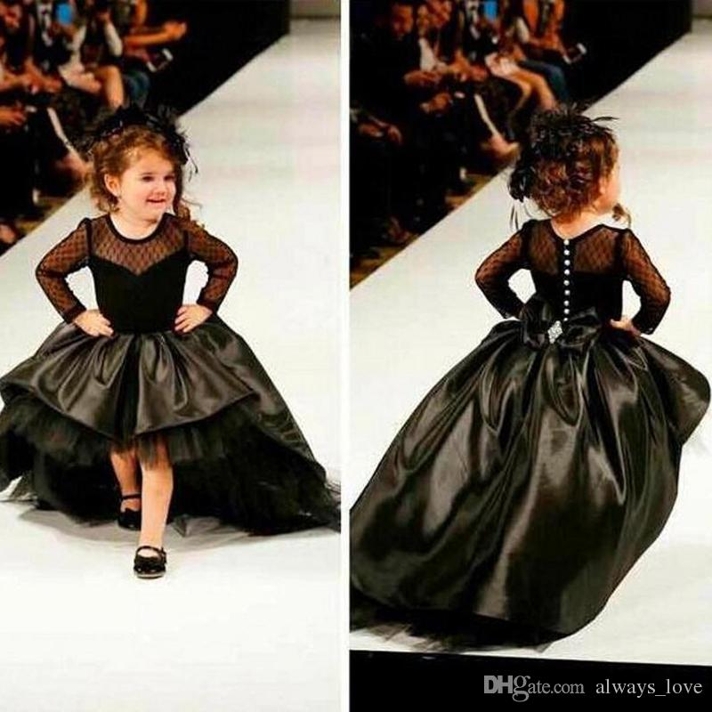 Cute Black High Low Girl's Pageant Dress Princess Ball Gown Party Cupcake Pretty Little Kids Queen Flower Girl Dress With Long Sleeves