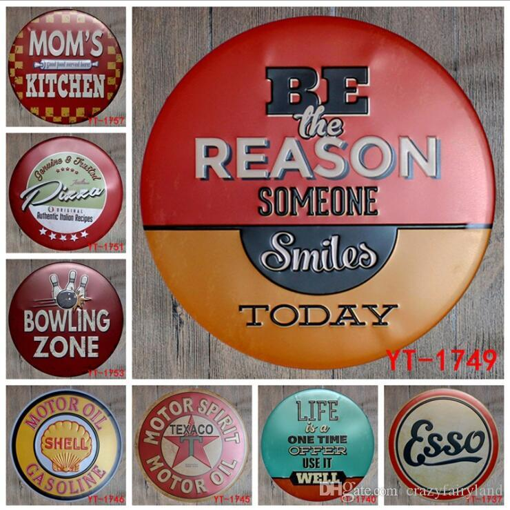 Round Vintage Metal Tin Signs For Wall Decor Football Beer Motorcycle Iron Paintings Metal Signs Tin Plate Pub Bar Garage Home Decoration