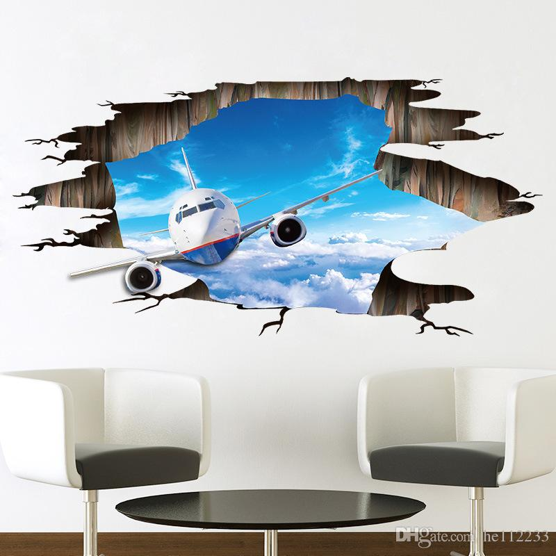 Brand New Creative 3D Stickers Sky Plane Floor Wall Stickers PVC Waterproof Wallpapers Can Be Removable Bedroom Living Room Background Decor