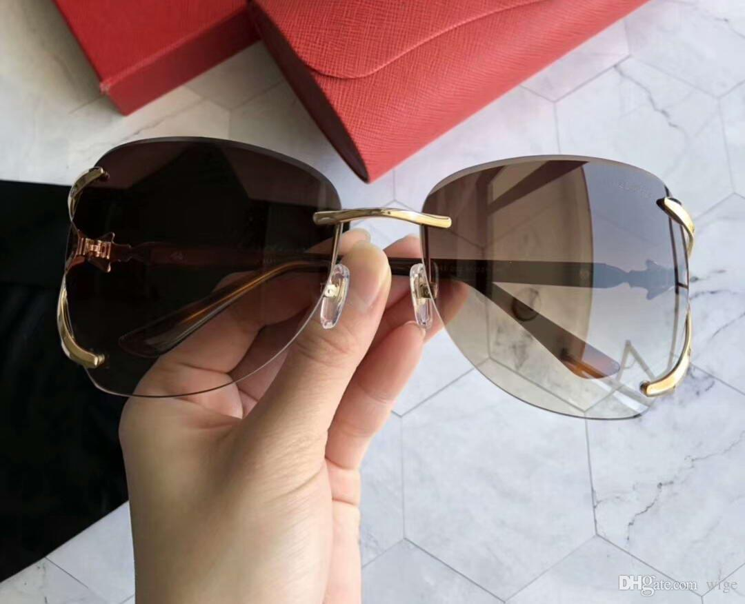448fd88b79d Women Rimless Gold Brown Sunglasses Gafas De Sol Luxuy Designer SunGlasses  Women SUNGLASSES 2018 SUNGLASSE Las Vegas Sunglasses Online with   74.86 Piece on ...