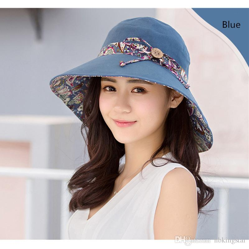 Women Fashion Foldable Beach Hat With Bowknot Summer Wide Brim Print Floral Cap UV Protection Sun Hats