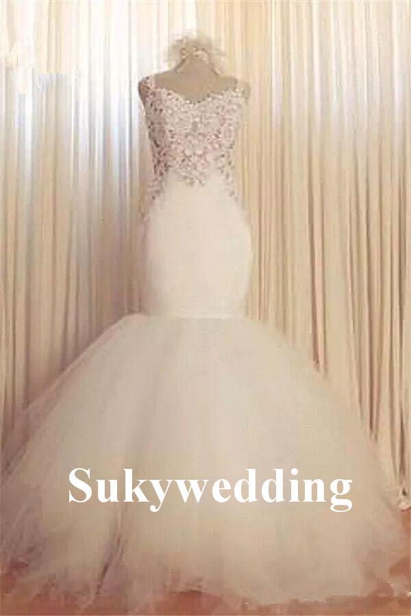 Vestidos de novia de encaje de la sirena glamorosa cariño sexy invertido verano árabe vestidos de novia vestidos nupciales con falda de tul nivelada