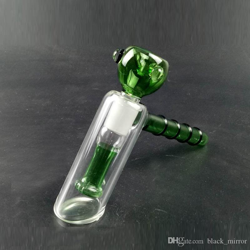 Delicate Glass Hammer Water Pipes Handle Two Function Pocket Glass Smoking Pipes In-Line Perc Heady Bubbler Bong Handblown Glass Bong