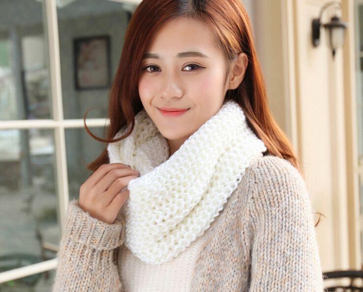 Nuevo Invierno Mujeres Infinity bufanda caliente casual Knitting suave Anillo Pañuelos de cuello redondo de la redecilla mantón de la bufanda de la señora