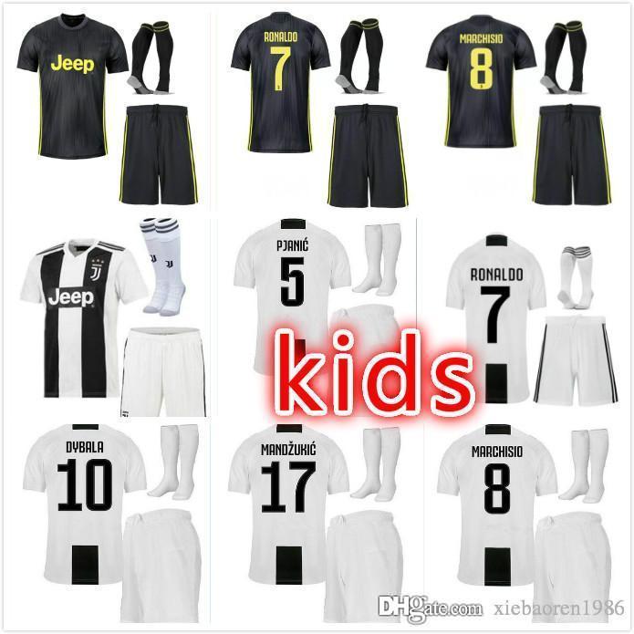 5ab419226 Kids 2018 RONALDO JUVENTUS Soccer Jersey Kids 18 19 7  JUVE CR7 9 ...