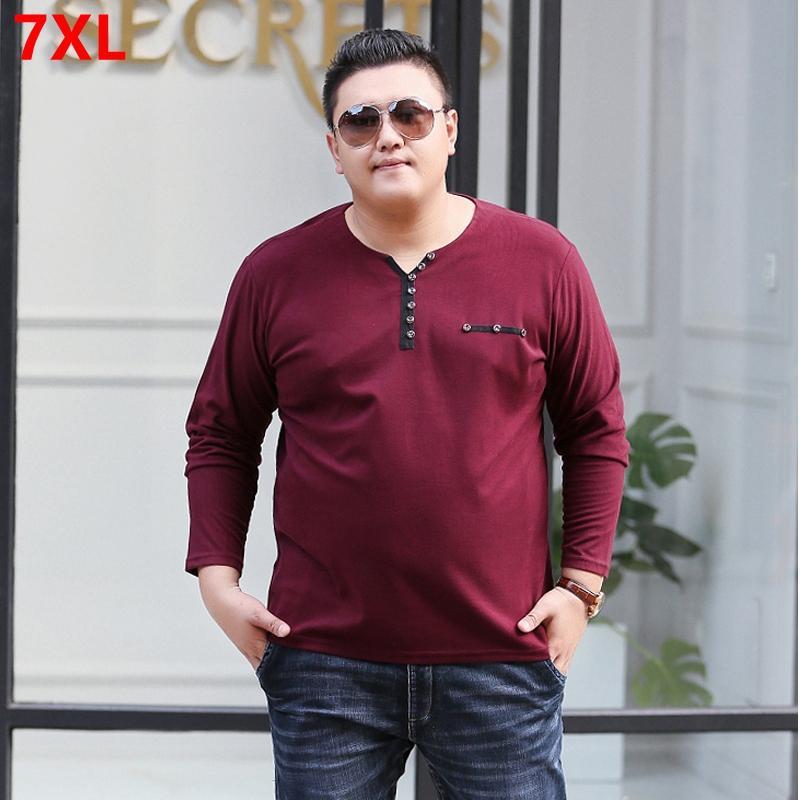 Autumn Big Size Men S Long Sleeved T Shirt 200 Pounds Plus Fat To Increase  Henry Collar Primer Shirt Loose Elastic Big Guy T White T Shirt Design T  Shirt ... 24ddc0177ca