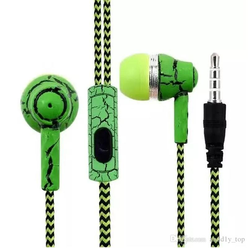 Cuffie in-ear auricolari 3.5mm headset stereo di disegno crepa fresco auricolari intrecciati con microfono SF-A16 all'ingrosso