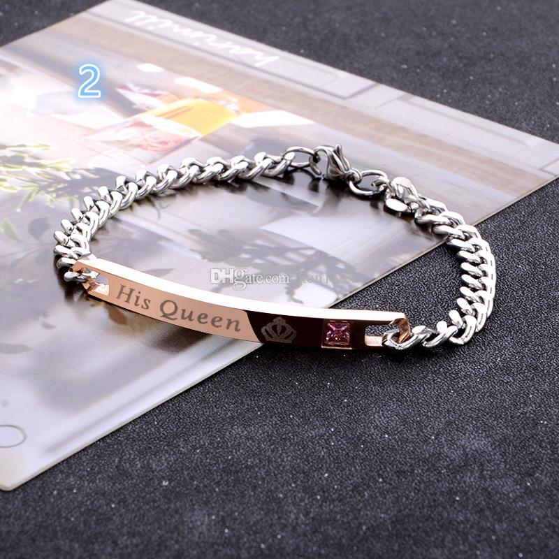 "unique gift for lover ""his queen"" ""her king"" couple bracelets stainless steel bracelets for men jewelry Valentine 's Day gift"