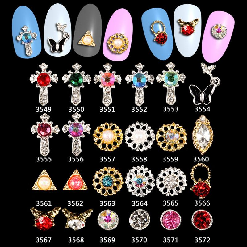 3d Nail Art Silver Ab Holographic Rhinestone Frame Jewels Gems Alloy ...
