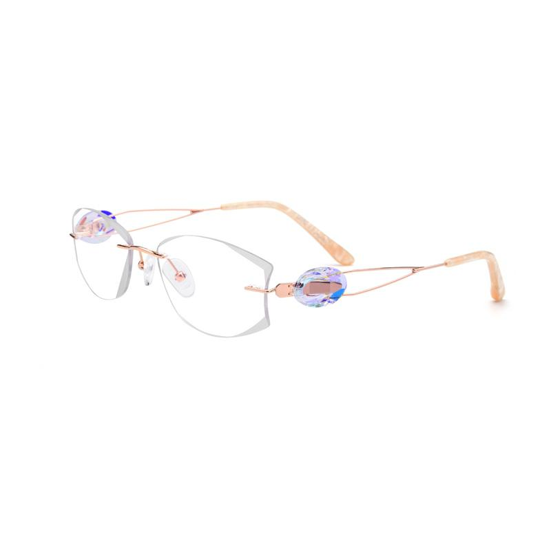 f6b180d80e 2019 Titanium Gold Rimless Drilling Women Eyeglasses Fashion Optical Frame  Fashionable Diamond Clear Glasses Size 53 18 140 From Goodlines