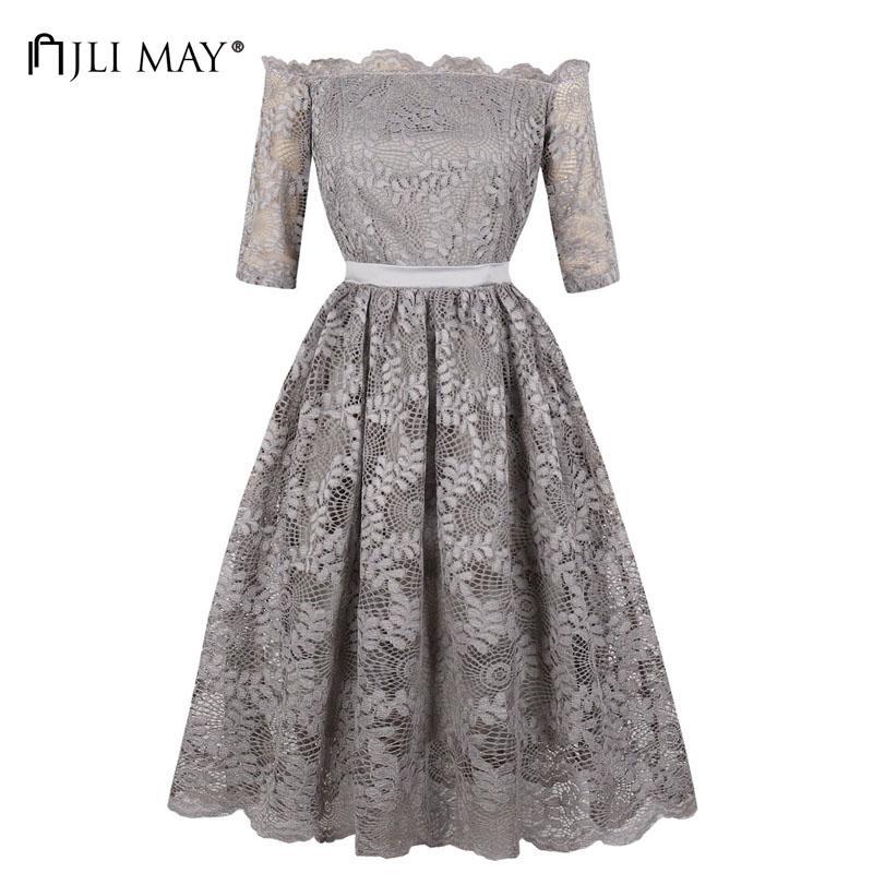 MAI Kleid Vintage Hülse Neck Lace Frauen Halbe Großhandel JLI Slash FTlK31Jcu