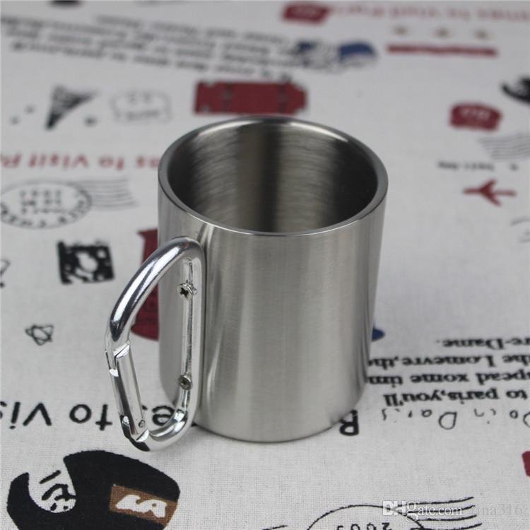 Горячая Открытый Чашка Отдыха Из Нержавеющей Стали Кружка Кофе 280 мл Карабин Крюк Двустенные Кружки стакан воды T1I183
