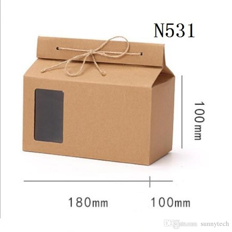 Tea packaging cardboard kraft paper bag,Clear Window box For Cake Cookie Food Storage Standing Up Paper Packing Bag LX0094