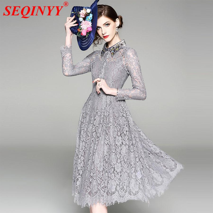 b3fdf0a1df7 2019 Grey Vintage Lace Dress 2018 Summer High End Long Sleeve Luxury Turn  Down Beadings Lace Hollow Out Large Swing Wome Mid Dresses From Cover3127