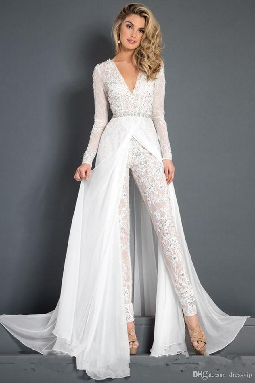 2019 White Prom Dresses Lace Jumpsuit With Detachable Chiffon Train Modest  V Neck Appliques Beads Long Sleeve Belt Evening Gowns Pictures Of Prom  Dresses ... ec785cab8