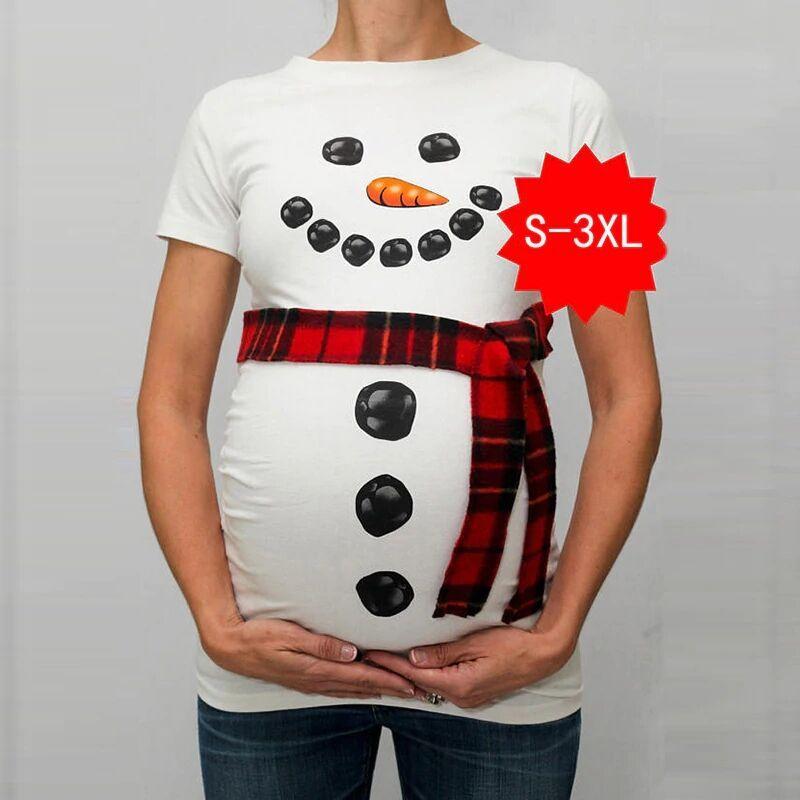 2b2f6aefe Compre Modernos Tops De Ropa De Maternidad Para Mujeres Embarazadas  Camisetas Divertido Muñeco De Nieve Con Estampado De Muñecos De Nieve Ropa  Para ...