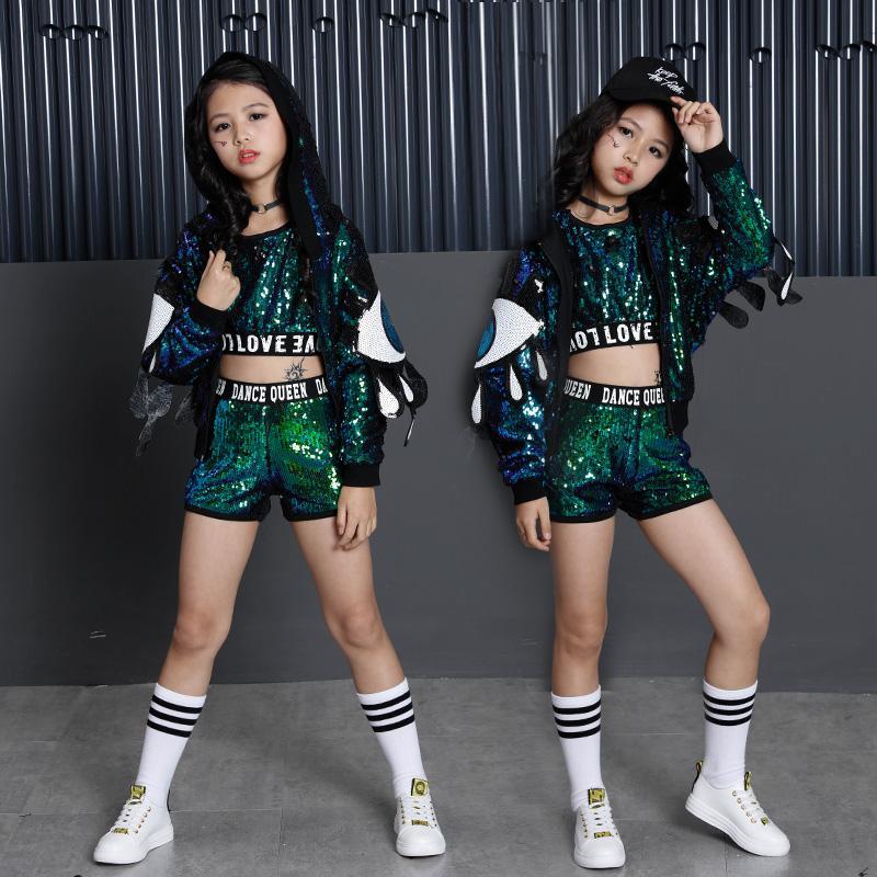 ef19c63308085 Compre 2018 Nova Rua Dança Lantejoulas Crianças Hip Hop Trajes De Dança Para  A Competição Stage Ballroom Crianças Meninos Meninas Jazz Roupas Desgaste De  ...