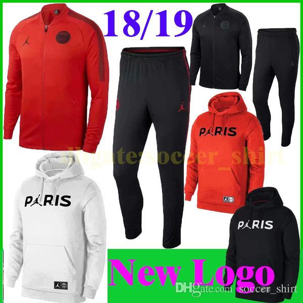New Logo PSG Soccer Tracksuit Paris BLACK RED Suit Jacket+Pants WHITE  Hoodies 18 19 PSG MBAPPE Footbal Shirt Survetement Hoodies Long Sleeve UK  2019 From ... d34a38d584d4c