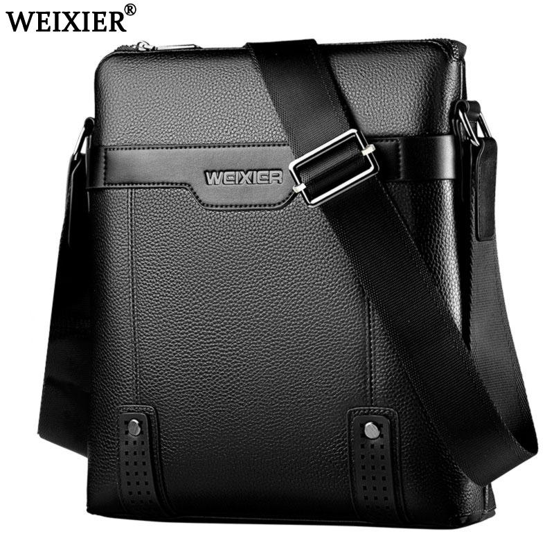 6525630a0baf WEIXIER 2018 Brand Men S Shoulder Bag Courier Handbag Large PU Leather  Shoulder Bag Men Handbags High Capacity Leisure Briefcase Pink Handbags  Leather ...