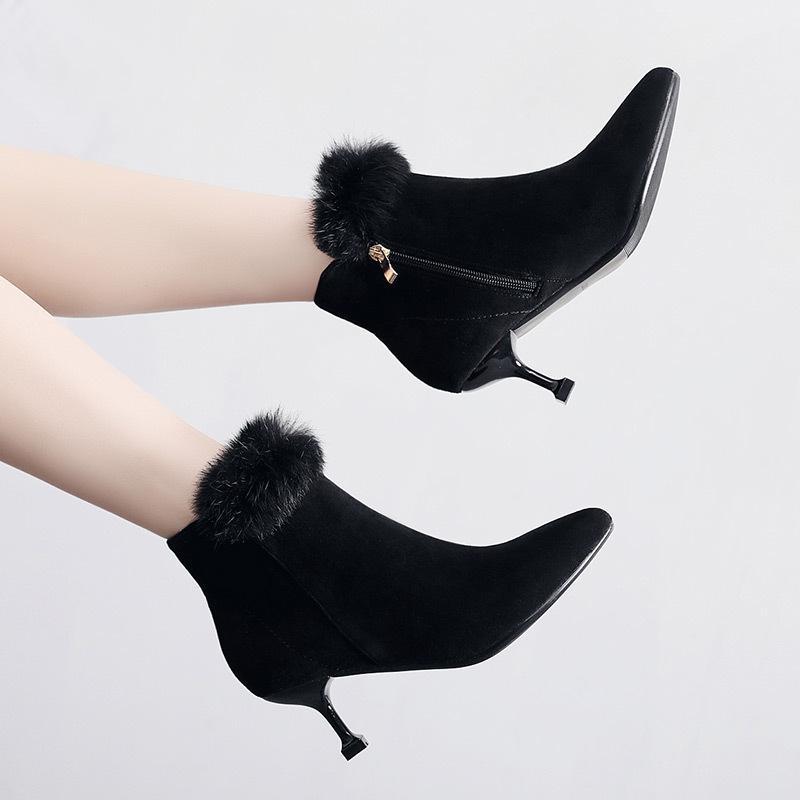 16949a25c5 Plus Size 34-43 Kitten Heel Rabbit Fur Shoes Women's Winter Boots 2018  Fashion High Heel Boots Women Warm Short Plush