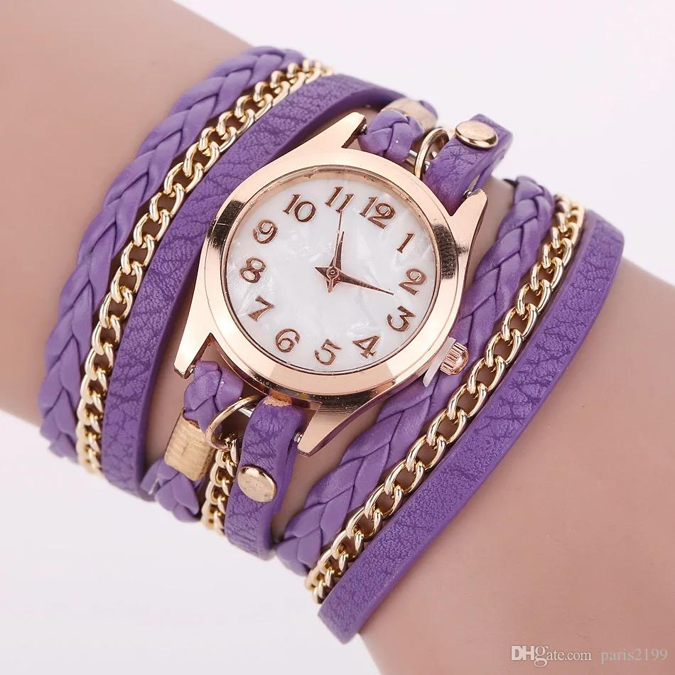 Vendite calde Moda Colorful Vintage orologi da donna Weave Wrap Rivet in pelle da donna Bracciale orologi da polso a catena