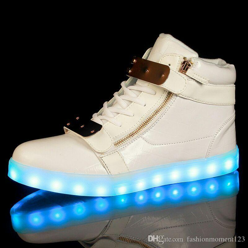 LED Shoe Men's USB Light Up Couple Side zipper Sneakers Adult Lovers Boys Casual Student Movement Glowing & Fashion Colorful Fluorescent Glo buy cheap pictures sneakernews cheap online clearance 2014 new online cheap quality QGgIFWyW