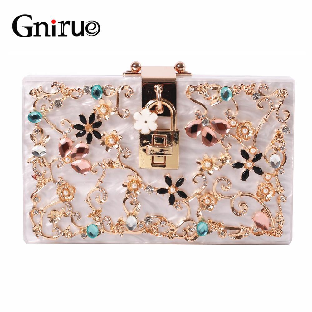 26a1e2d621508f Fashion Metal Hollow Flower Diamond Evening Bags Acrylic Clutch Bags  Women S Shoulder Bag Luxury Party Wedding Handbag Purses Y1890401 Travel  Bags For Women ...