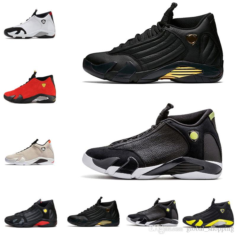 7f483c47b83a9b 14 XIV Oxidized Green Indiglo Thunder Playoffs Black Toe Red Suede 14s Men  Basketball Shoes Sneaker Last Shot Sport Shoes 41 47 Mens Basketball Shoes  Men ...
