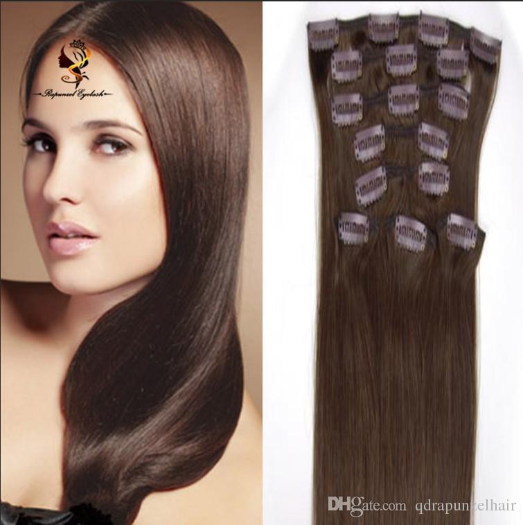 Cuticle Aligned Hair 2 Dark Brown Brazilian Hair Clip On Hair