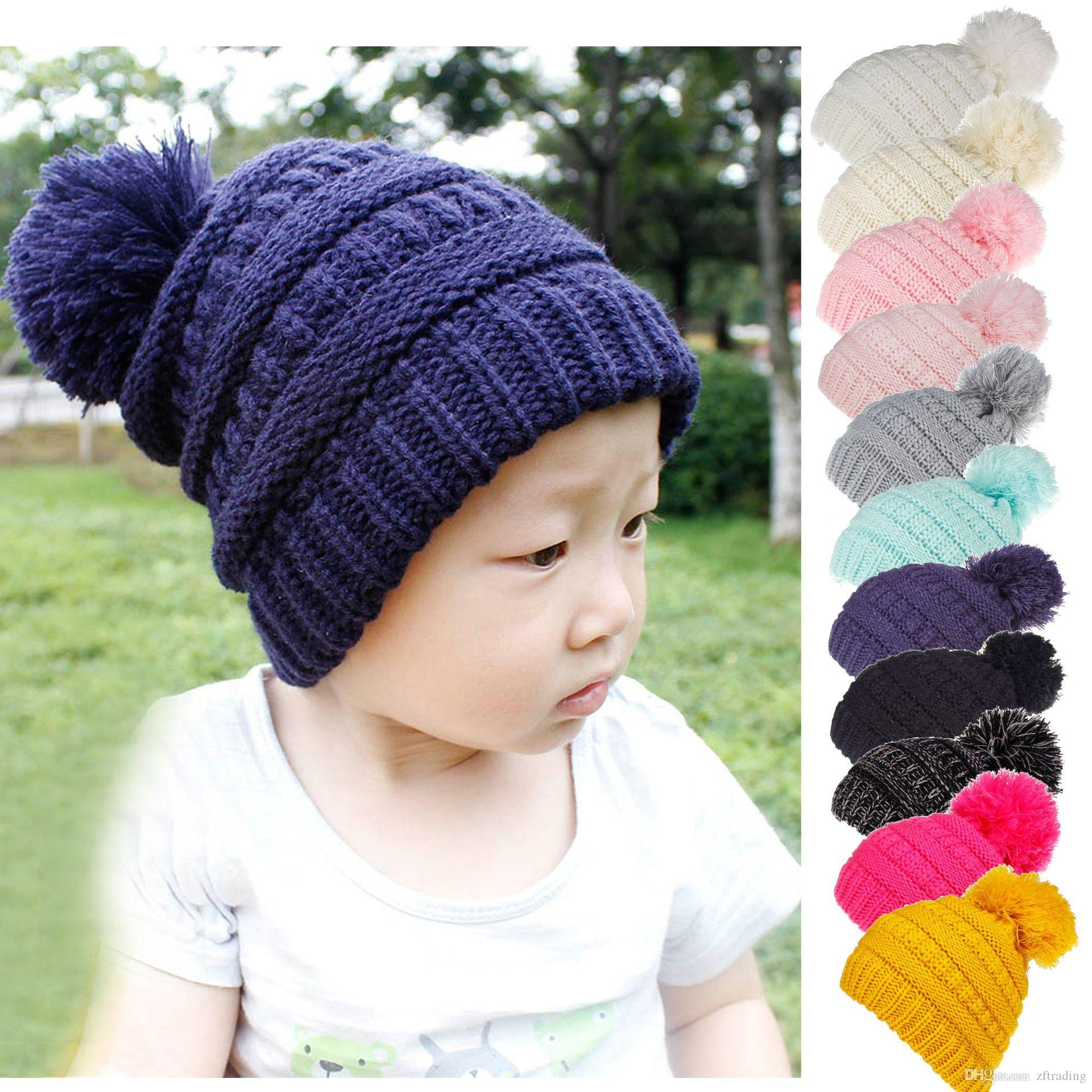 180294d588d 2019 Kids Girls Wool Knitting Caps Label Baby Knitted Cap Wool Ball  Children S Fur Hat Winter Warm Accessories From Zftrading
