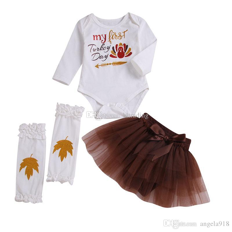 f164b84d00506 Thanksgiving baby outfits girls Turkey letter print romper+lace Tulle  skirts with leg warmer 3pcs/set Autumn fashion kids Clothing SetsC5383