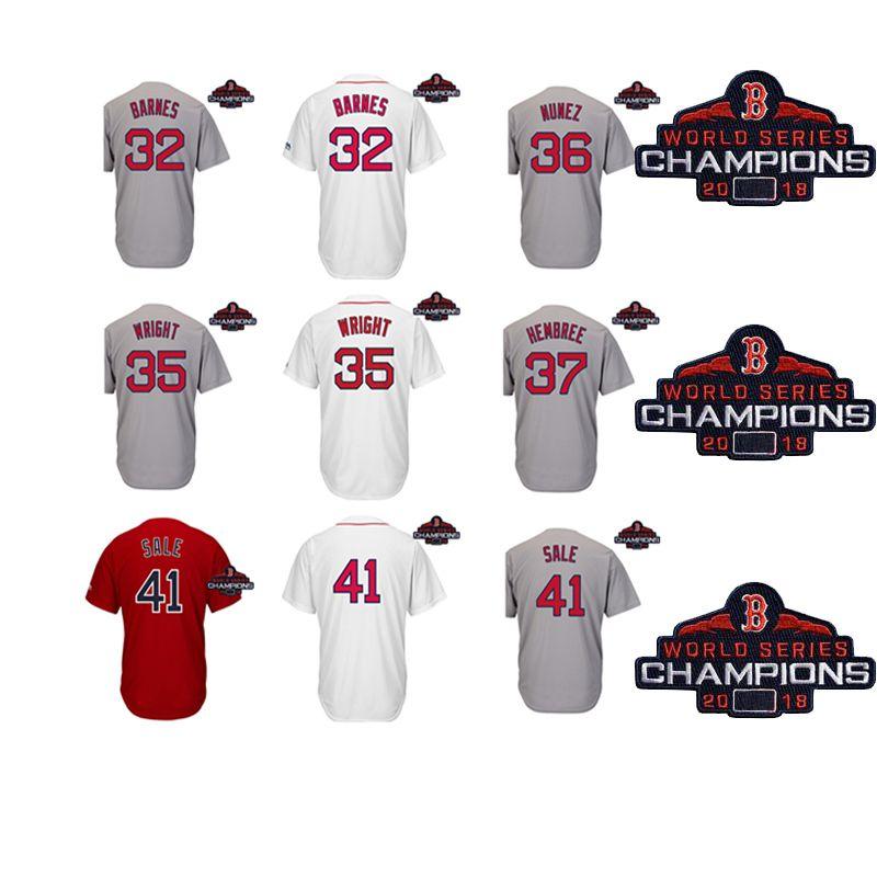 free shipping 30dc6 7b125 Men Boston Red Sox 2018 World Series Champions Patch Matt barnes Steven  Wright Eduardo Nunez Heath Hembree Chris Sale Baseball Jersey
