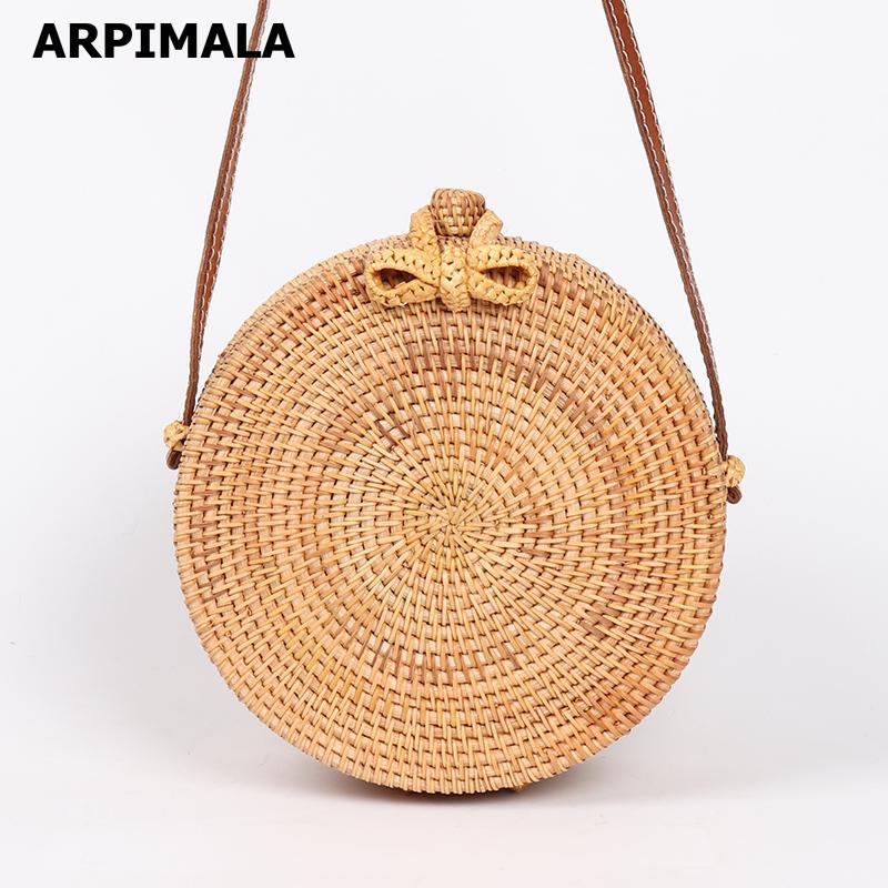 8d87063d98fd ARPIMALA 2018 Round Straw Bags Women Summer Rattan Bag Handmade Woven Beach  Cross Body Bag Circle Bohemia Handbag Bali