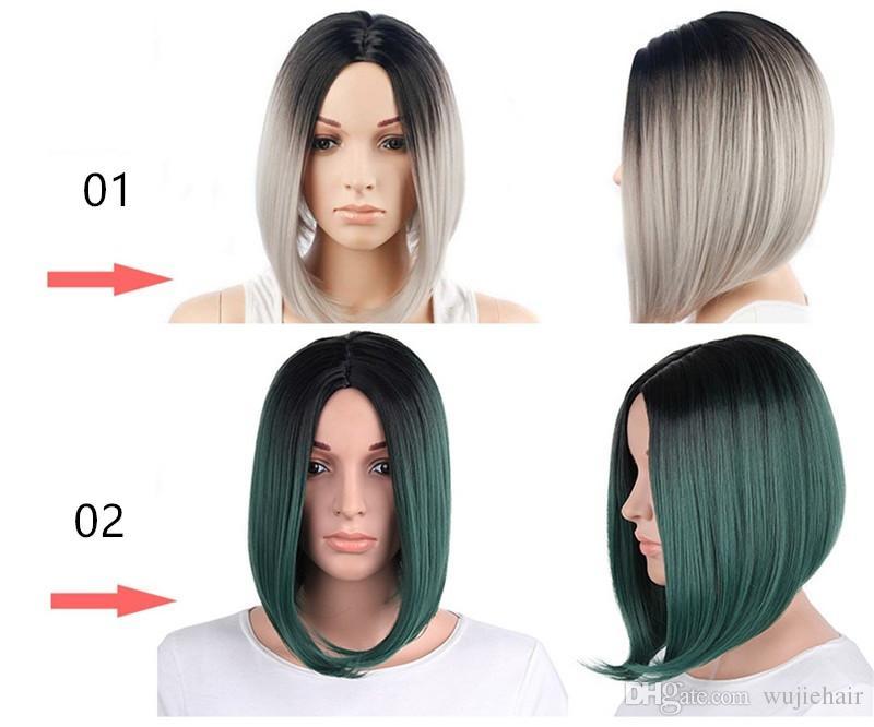 Hot Sexy Ombre pelucas sintéticas multicolores del pelo para Ladys BOBO Dark Roots fibra natural Short Long Lace Front Straight Blue Brown Sliver gris