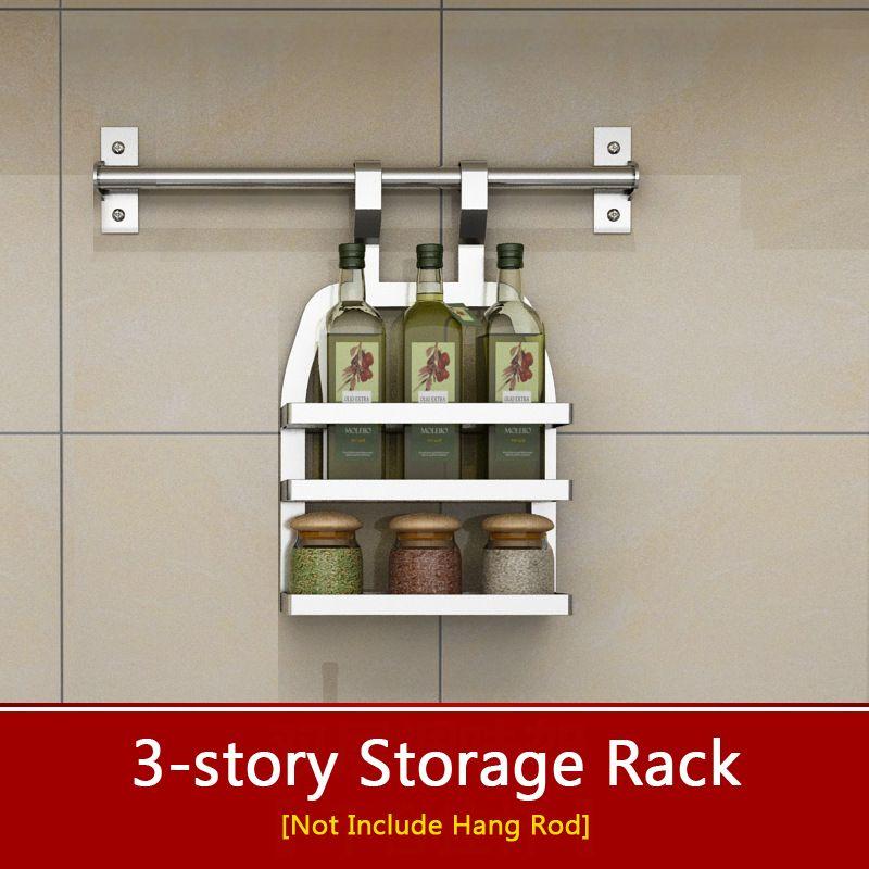 2019 Stainless Steel Kitchen Storage Rack 3 Layers Seasoning Shelf