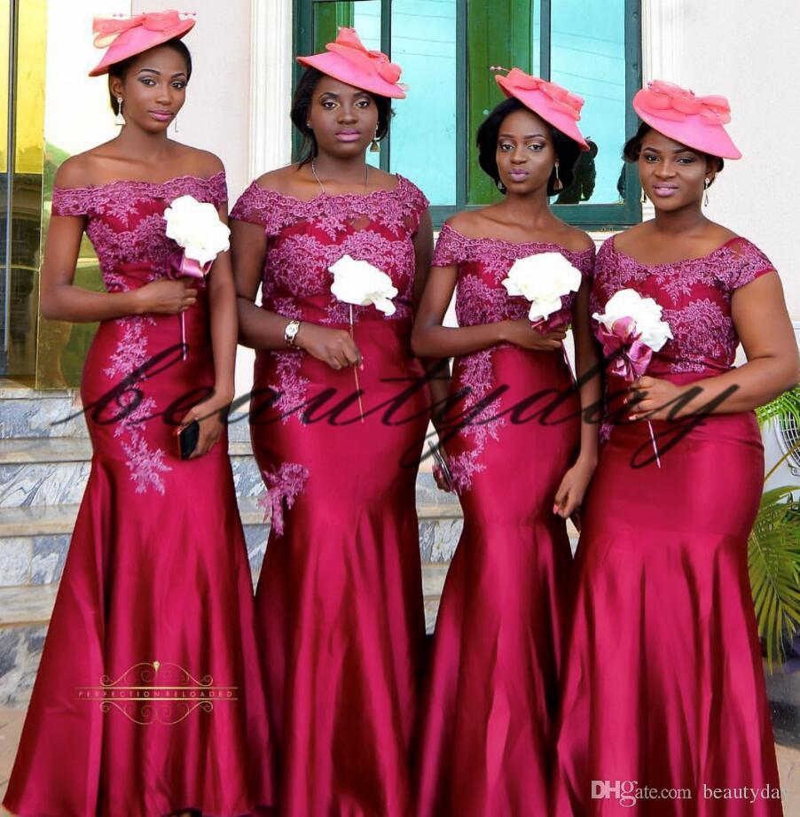 70899987775 Burgundy Lace Bridesmaid Dresses 2019 New African Style For Nigerian Maid  Of Honor Gowns Formal Wedding Party Guest Dress Bridesmaid Dresses Online  ...