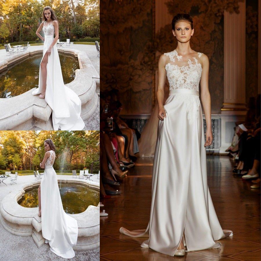 Discount Fashion Side Split Beach Wedding Dresses Lace Appliqued ...