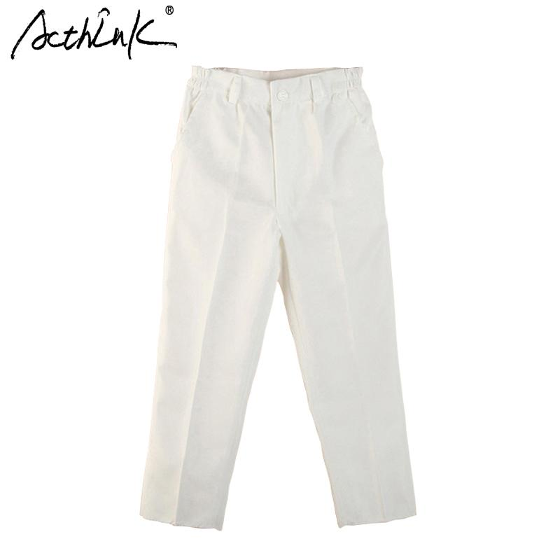4ca12e9bb ActhInK New Boys White Spring Solid Suit Pant Brand Kids England Style  Formal Wedding Pants For Boys Black Suit Trousers