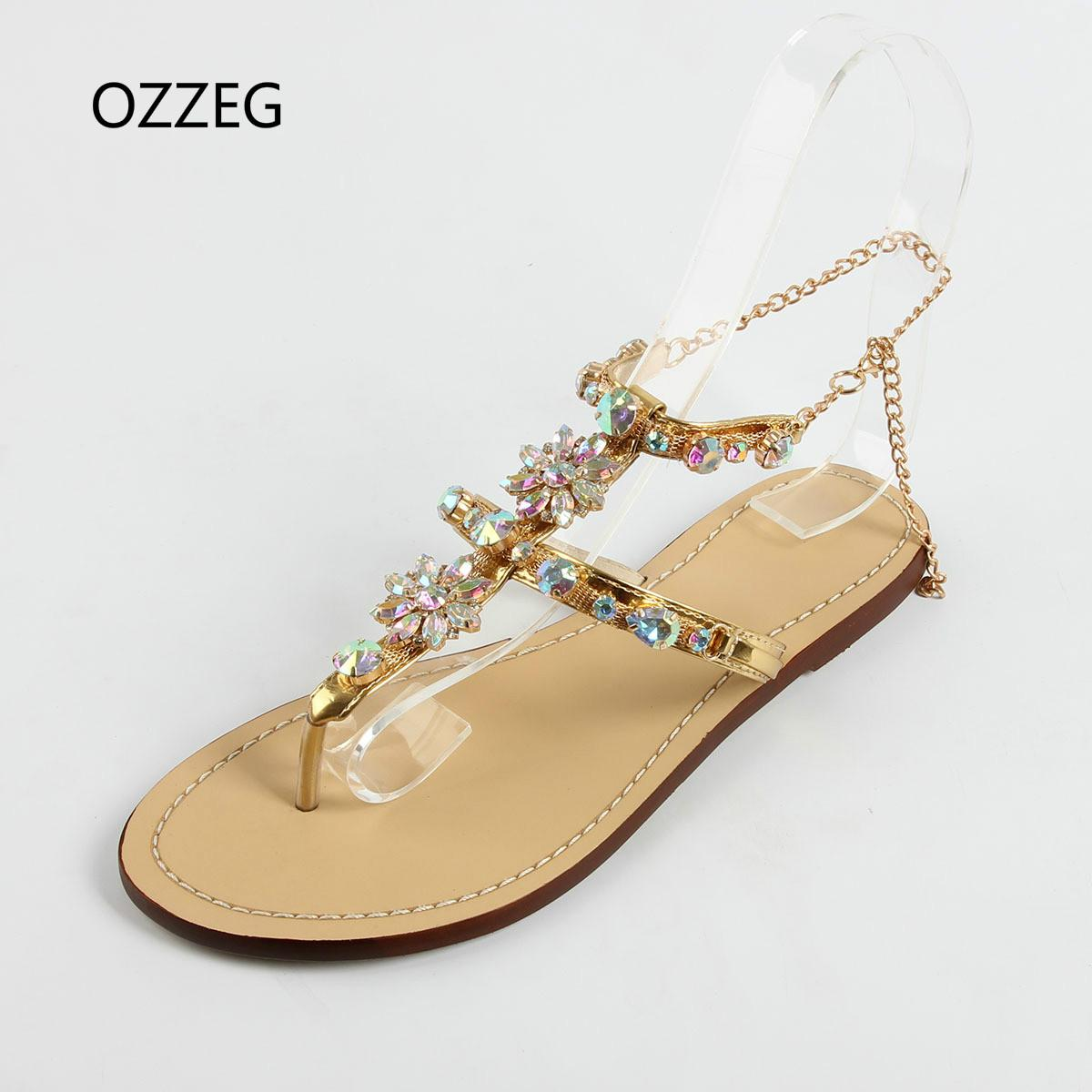 ca4a830dfb83 Woman Sandals Women Shoes Fashion Rhinestones Chains Thong Gladiator Flat  Sandals Crystal Chaussure Sandalias Mujer Plus Size 47 Platform Shoes Prom  Shoes ...